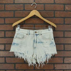 BULLHEAD Acid Wash Frayed Denim Mom Shorts Size 5